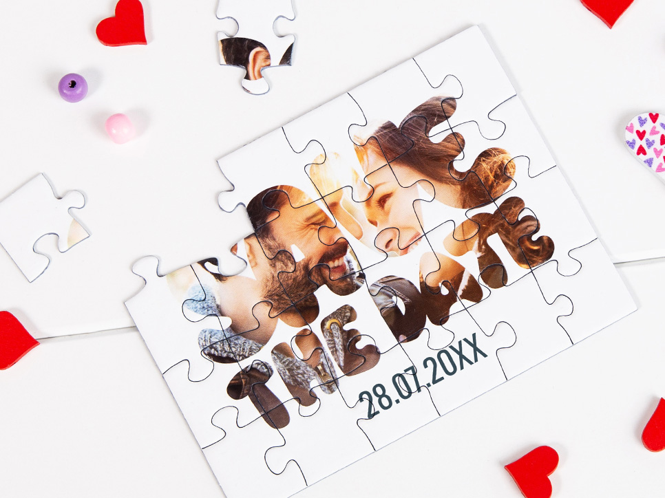 moderne Save-the-Date Karten als Puzzle