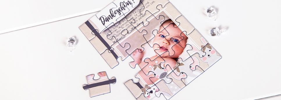 Dankeskarte zur Geburt als Puzzle