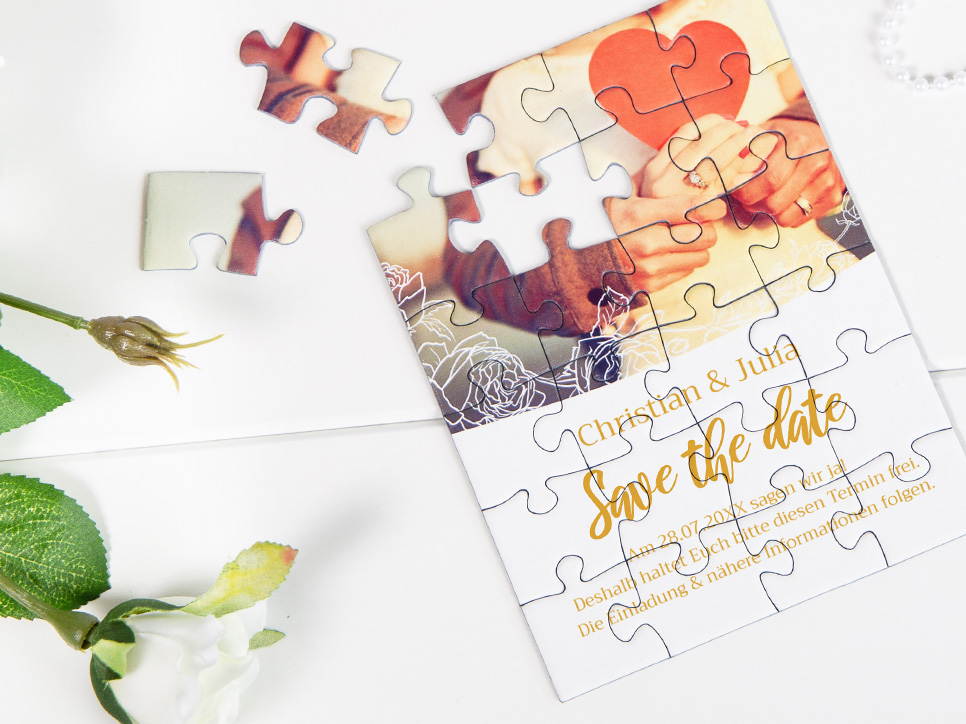 vintage Save-the-Date Karten als Puzzel