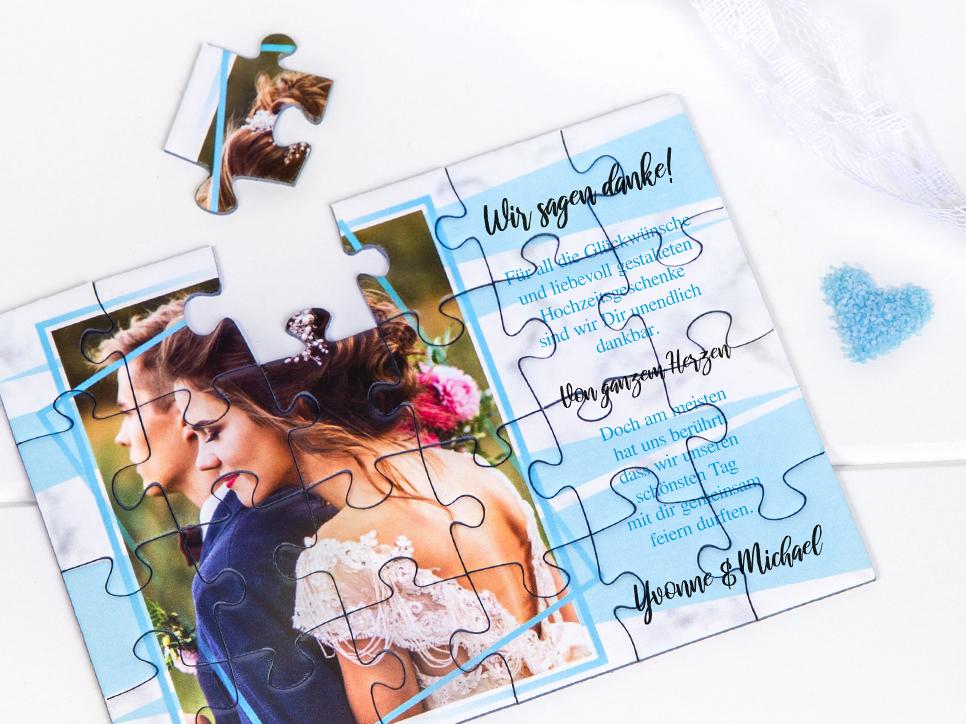 Danksagung zur Hochzeit als Puzzle