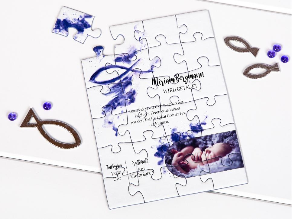 Einladungen zur Taufe als Puzzle