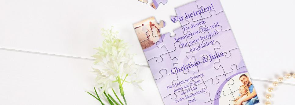Einladungen zur Hochzeit als Puzzle