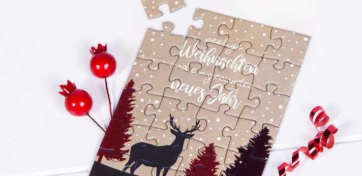 Weihnachtskarten ohne Foto als Puzzle