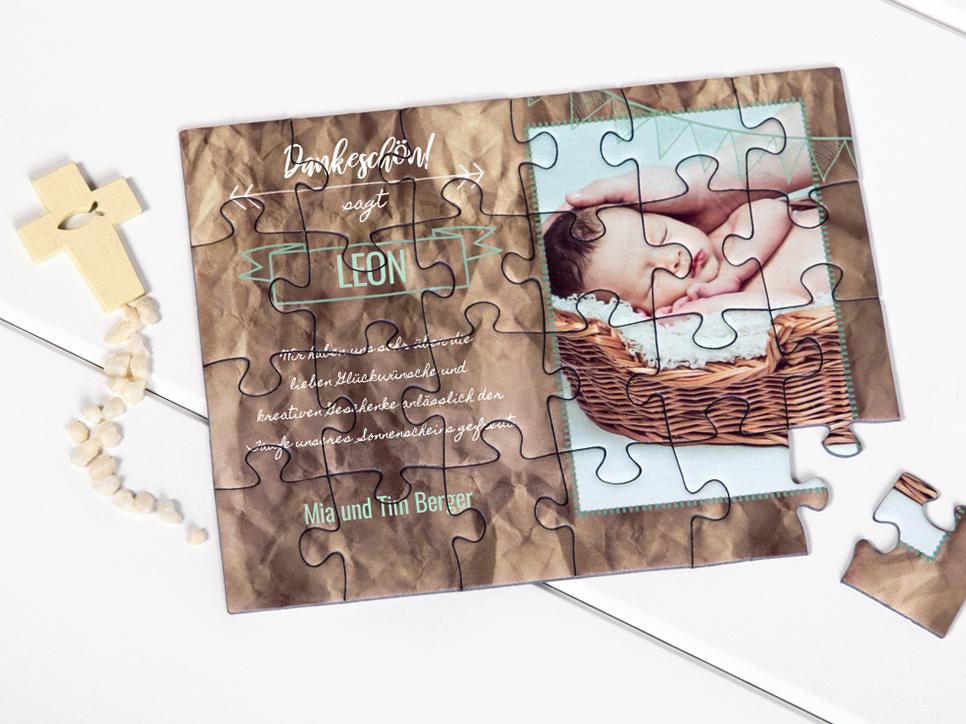 Dankeskarte zur Taufe als Puzzle