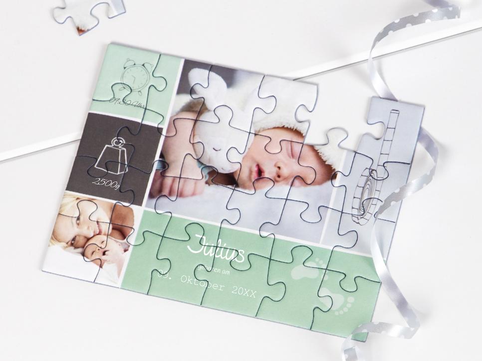 Geburtskarten als Puzzle