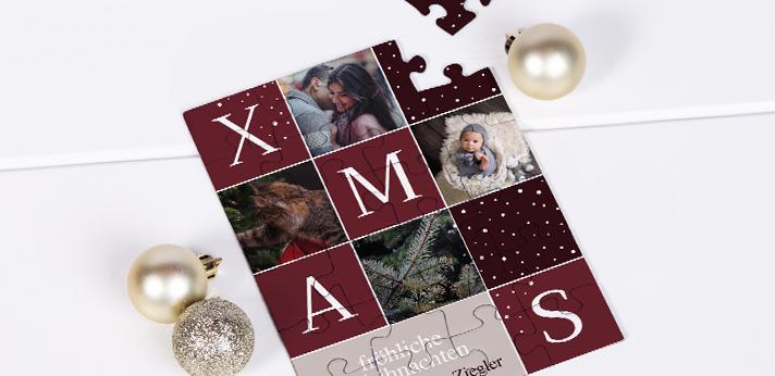 Weihnachtskarten mit Foto als Puzzle
