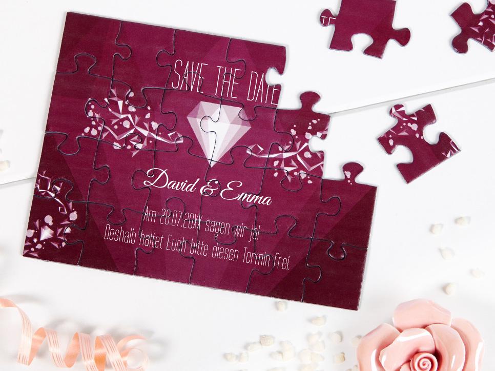 klassische Save-the-Date Karten als Puzzle