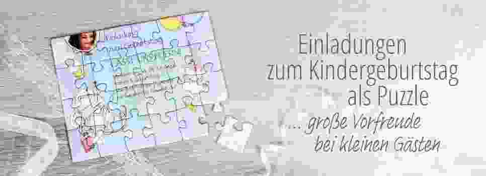 Einladungen zum Kindergeburtstag als Puzzle gestalten