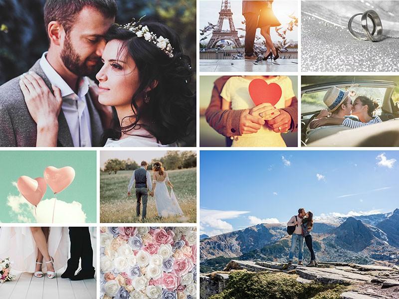 Fotopuzzle-Collage mit einfachem Raster und 10 Bildern