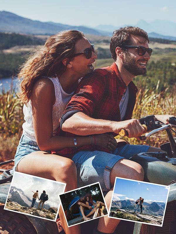 Fotopuzzle-Collage mit eigenem Hintergrund und insgesamt 4 Bildern