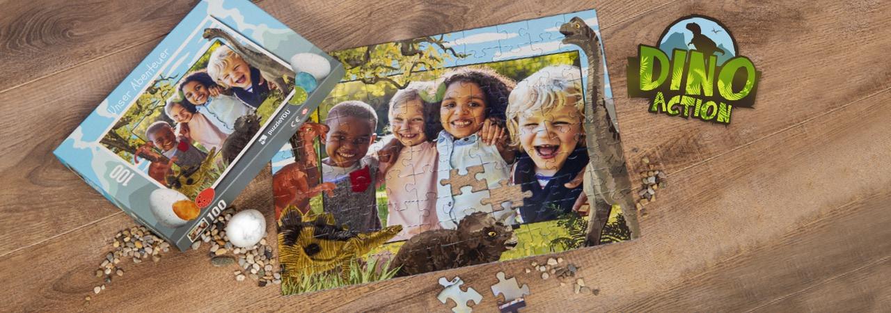 Dinosaurier-Kinderpuzzle mit eigenen Fotos