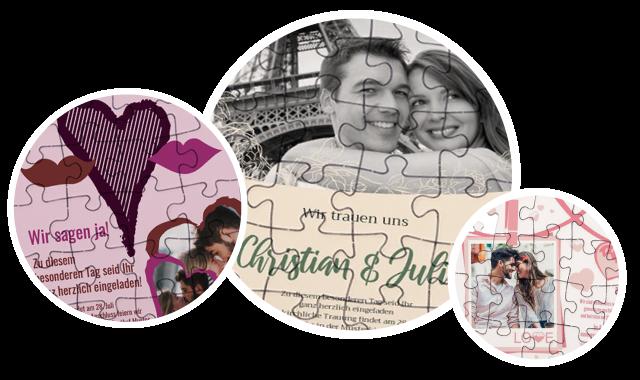 Hochzeitseinladung als Puzzle