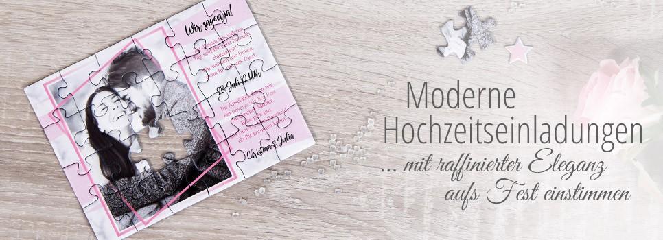 Moderne Hochzeitseinladung als Puzzle