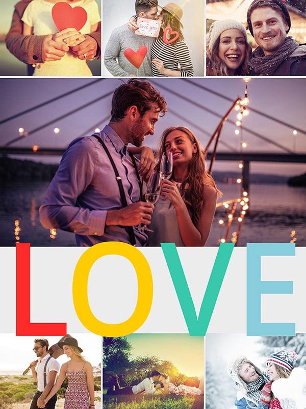"""Fotopuzzle-Collage """"LOVE"""" mit 7 Bildern"""