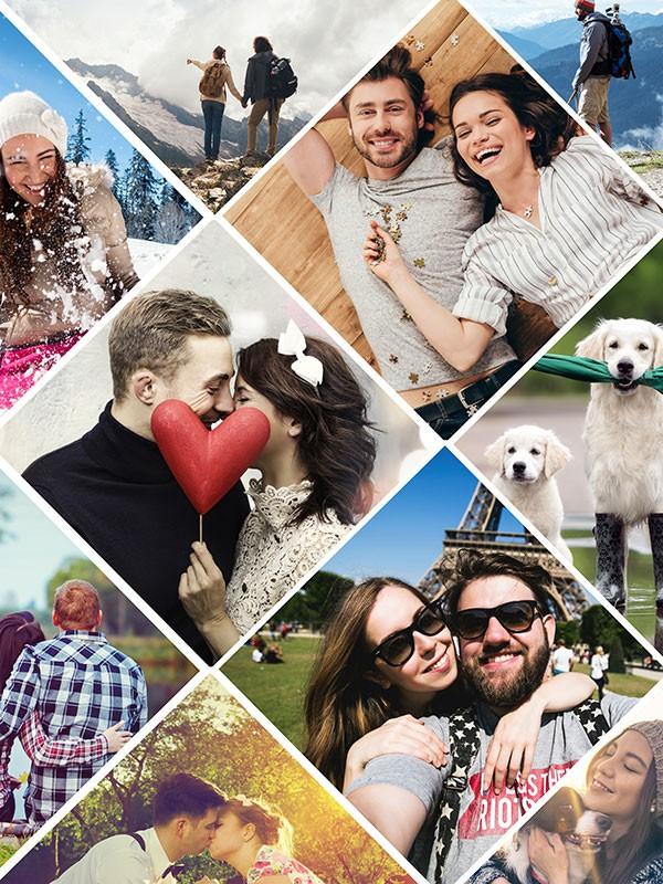 Fotopuzzle-Collage mit verspieltem Raster und 11 Bildern