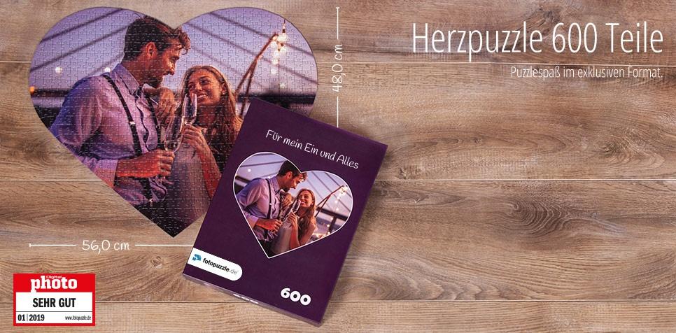 600 Teile Fotopuzzle, Herzpuzzle