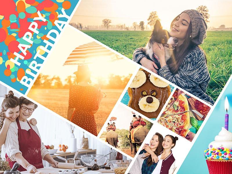 """Fotopuzzle-Collage """"Happy Birthday"""" mit 8 Bildern"""