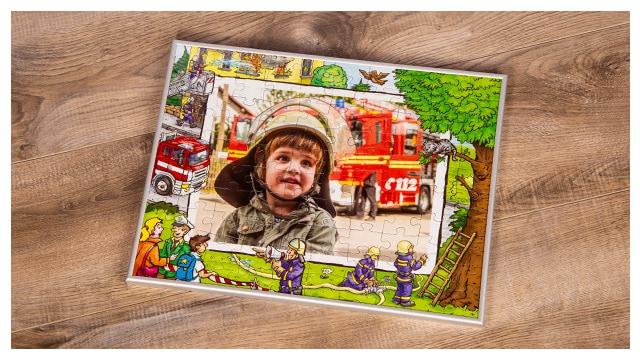 Passender Rahmen für Feuerwehr-Kinderpuzzles