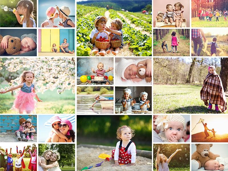 Fotopuzzle-Collage mit einfachem Raster und 24 Bildern