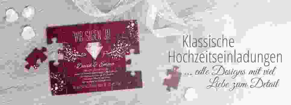 Klassische Hochzeitseinladung als Puzzle