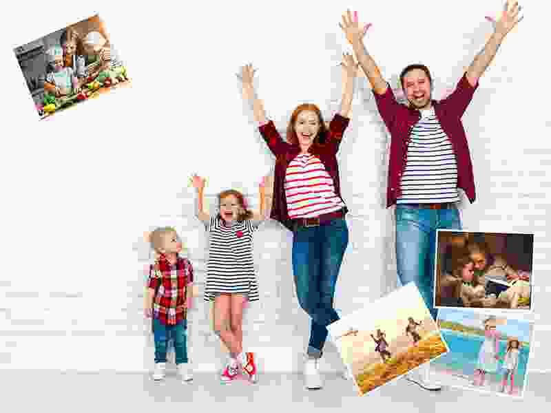 Fotopuzzle-Collage mit eigenem Hintergrund und insgesamt 5 Bildern