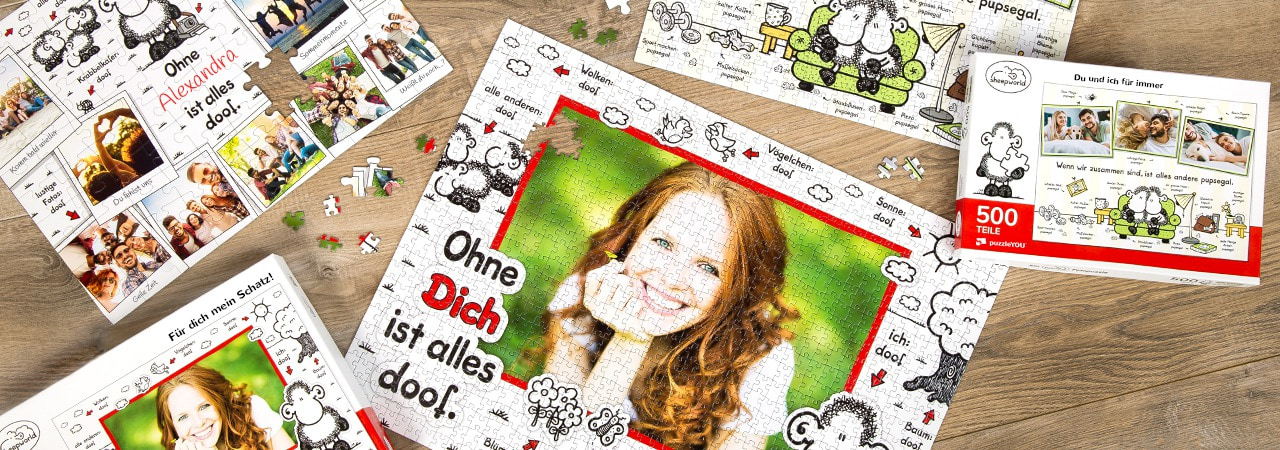 Personalisiertes Fotopuzzle im sheepworld-Design
