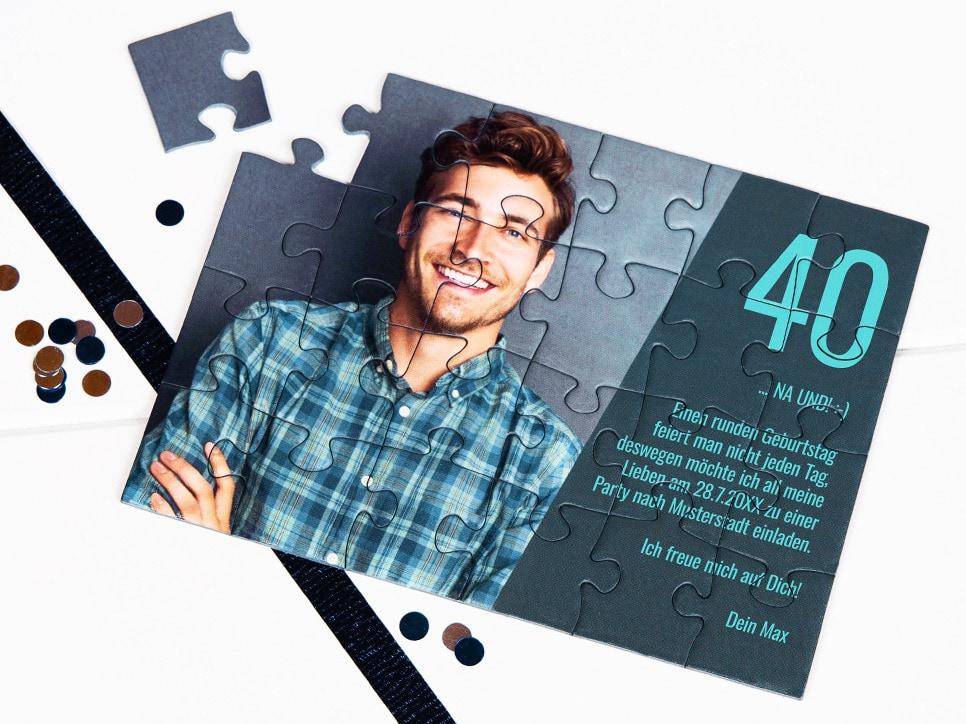 Einladung zum 40. Geburtstag als Puzzle