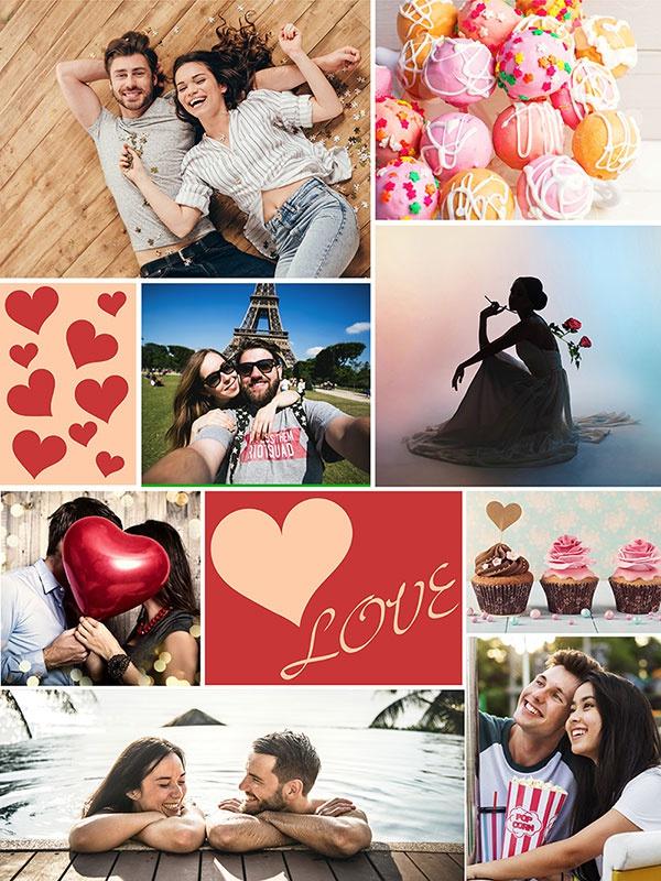 """Fotopuzzle-Collage """"LOVE"""" mit 8 Bildern"""