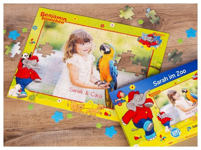 Kinderpuzzle mit eigenen Fotos gestalten, inklusive Schachtel