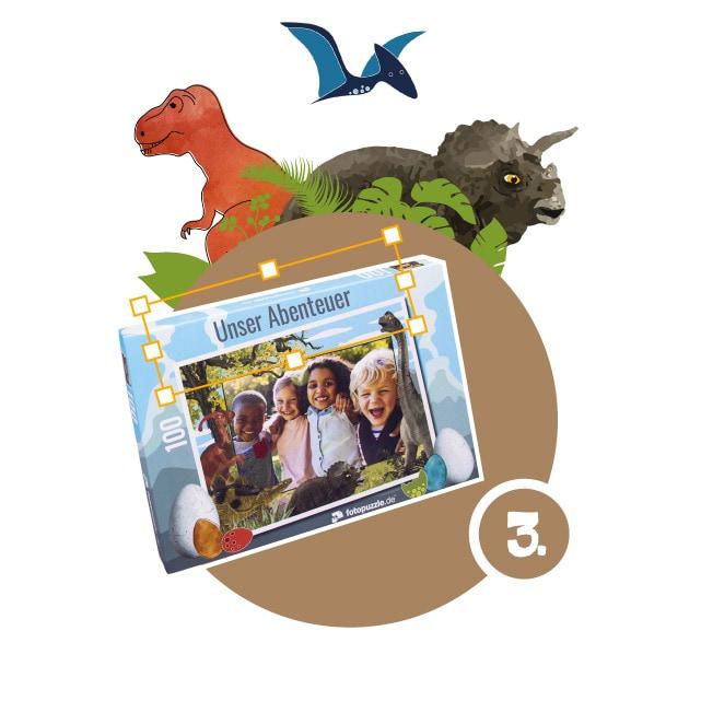 Dinosaurier-Kinderpuzzle gestalten - Schritt 3