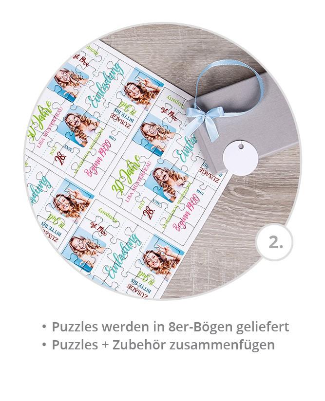 Geburtstagseinladung als Puzzle gestalten: Schritt 2