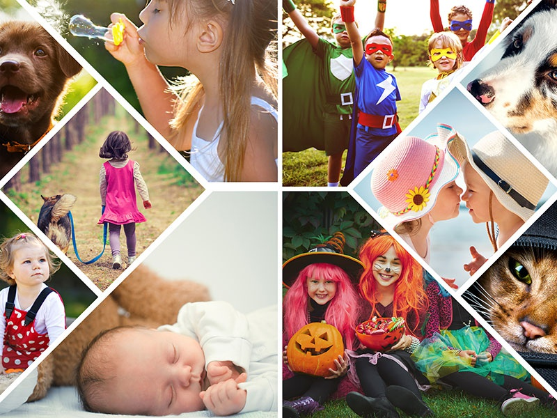 Fotopuzzle-Collage mit verspieltem Raster und 10 Bildern