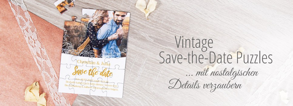 Vintage Save-the-Date Karte als Puzzle