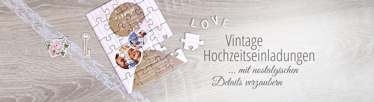 Vintage Hochzeitseinladung als Puzzle