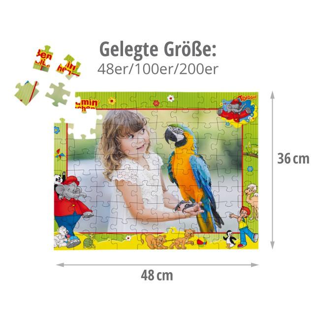 Gelgegte Größe der Benjamin Blümchen Kinderpuzzles - 48 bis 200 Teile