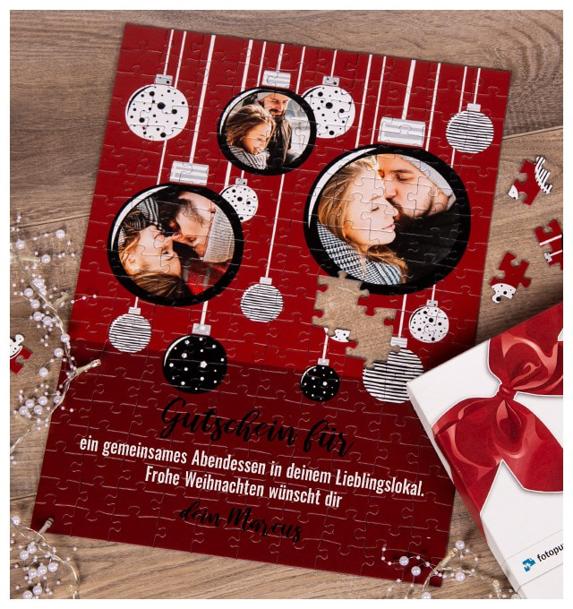Weihnachtsgeschenk Gutschein als Puzzle