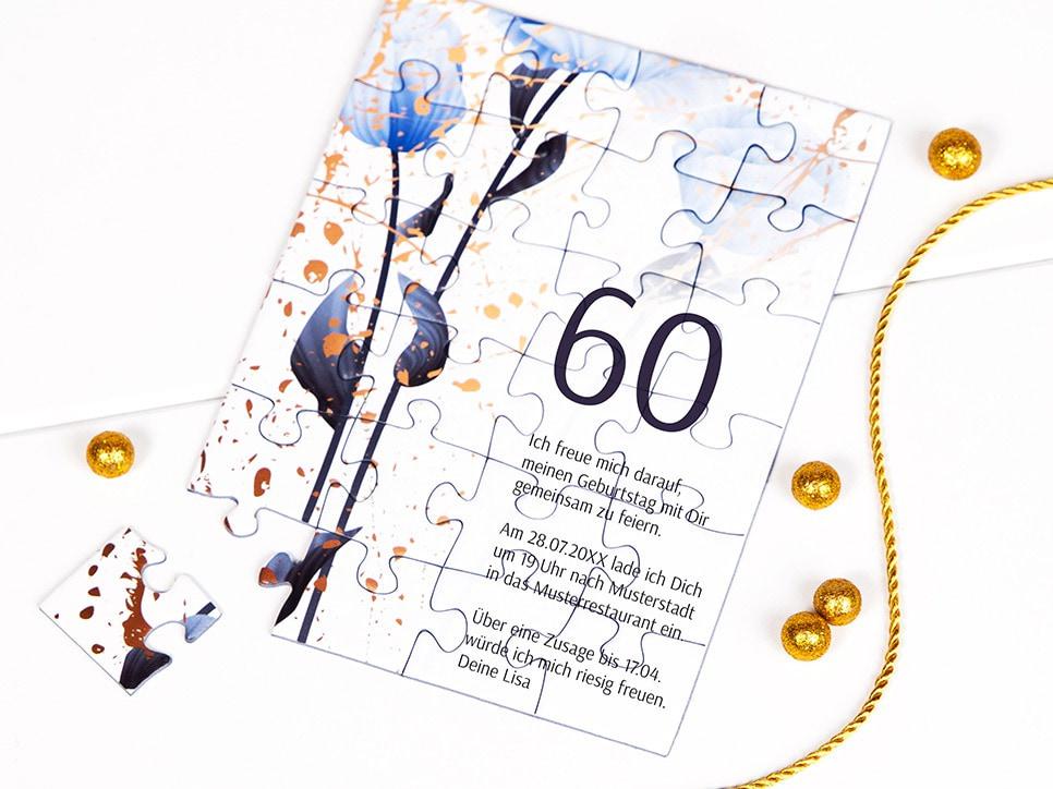 Einladung zum 60. Geburtstag als Puzzle