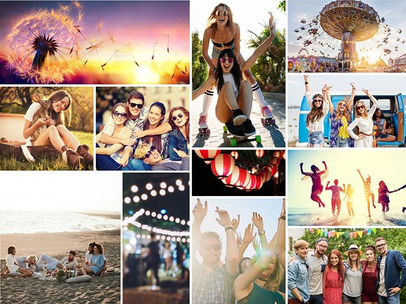 Fotopuzzle-Collage mit einfachem Raster und 12 Bildern