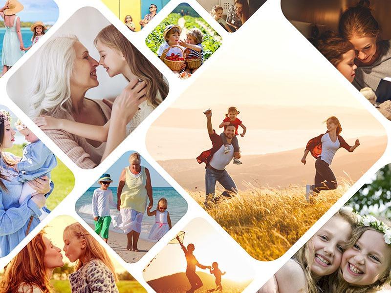 Fotopuzzle-Collage mit verspieltem Raster und 12 Bildern