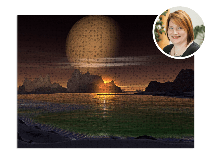 Puzzlemotiv Planet bei Nacht