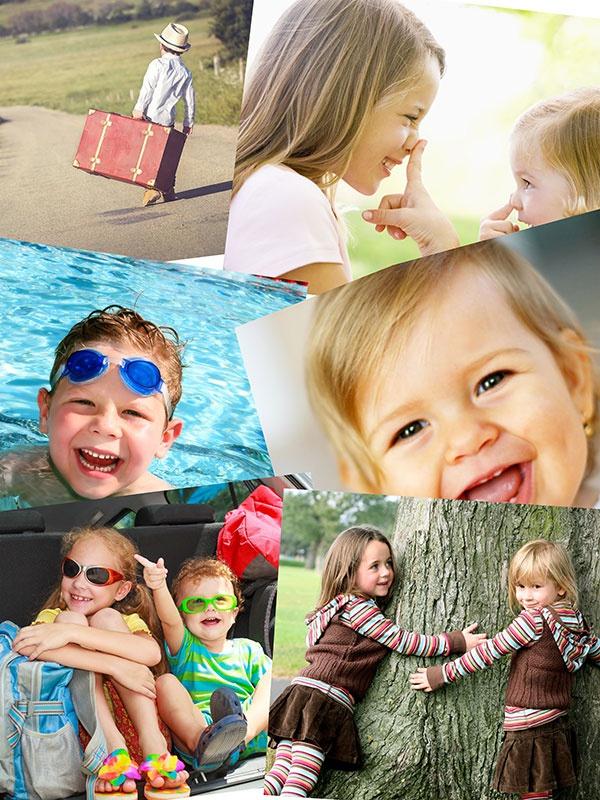 Fotopuzzle-Collagen Stapel mit 6 Bildern