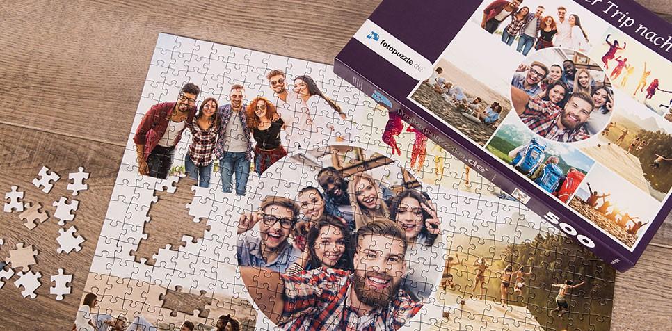 Teaser Fotopuzzle-Collage mit verspieltem Raster