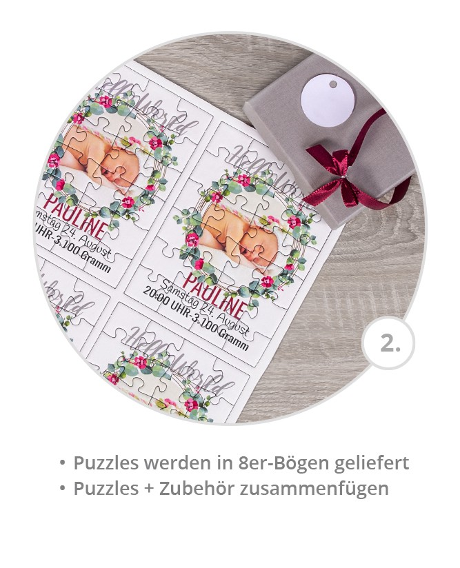 Geburtskarten oder Taufeinladungen als Puzzle gestalten; 8er-Set; passendes Zubehör