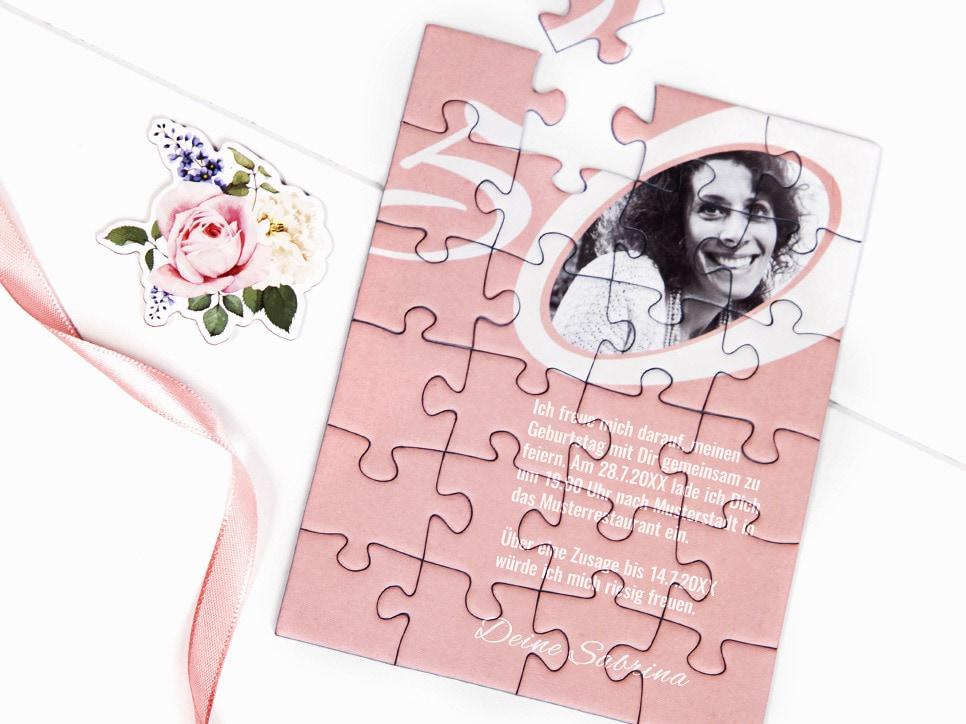 Einladung zum 50. Geburtstag als Puzzle