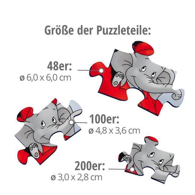 Größe der Puzzleteile - 48 bis 200 Teile