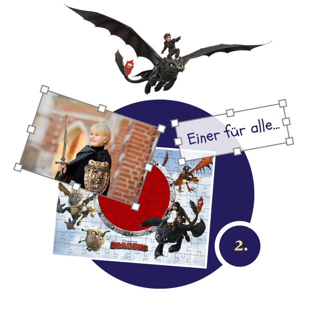 Dragons Kinderpuzzle gestalten - Schritt 2