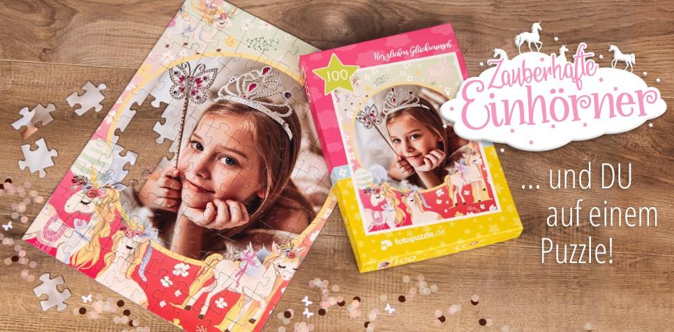 Einhorn-Kinderpuzzle mit eigenen Fotos