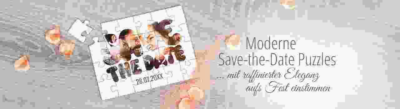Moderne Save-the-Date Karten als Puzzle