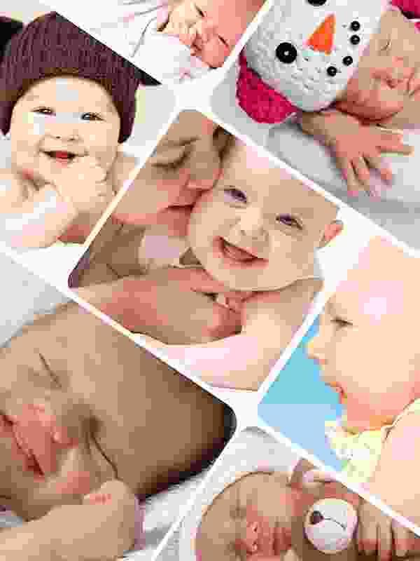 Fotopuzzle-Collage mit verspieltem Raster und 7 Bildern
