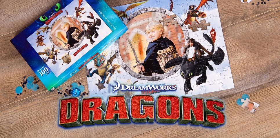 Dragons-Kinderpuzzle mit eigenen Fotos